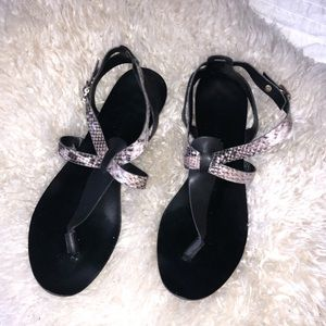 Leather Sandals in Black and Neutral Snake Skin